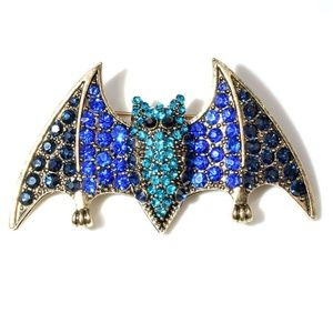 Jewelry - Crystal Accented Bat Brooch Pin NEW Bling!